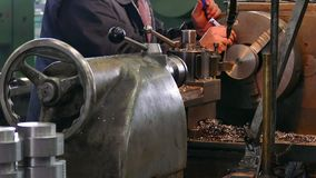 Lathe Operator process Parts of Metal. Processing of metal parts on the lathe machine,video clip stock footage