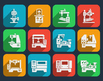 Processing milling, turning and drilling machines. Processing and milling, turning and drilling machines icons set. Technology industry, lathes industrial Royalty Free Stock Photos