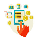 Processing of mobile payments. Flat design illustration in  modern stylish processing of mobile payments concept of hand touch screen, vector eps 10. Online Royalty Free Stock Image