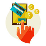 Processing of mobile payments Stock Photos