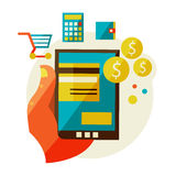 Processing of mobile payments. Flat design illustration in  modern stylish processing of mobile payments concept of hand touch screen, vector eps 10. Online Stock Image