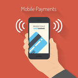 Processing of mobile payments illustration. Flat design style  illustration of modern smartphone with the processing of mobile payments from credit card on the Stock Image