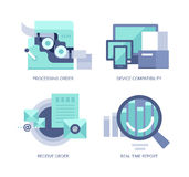 Processing Online Order. Vector icons in flat style of online order processing and managing for web, mobile applications and print design Royalty Free Stock Images