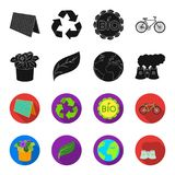 A processing plant, flowers in a pot, a green leaf, a planet Earth.Bio and ecology set collection icons in black,flet. Style vector symbol stock illustration Stock Photos