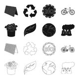 A processing plant, flowers in a pot, a green leaf, a planet Earth.Bio and ecology set collection icons in black,outline. Style vector symbol stock illustration Royalty Free Stock Photo