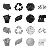 A processing plant, flowers in a pot, a green leaf, a planet Earth.Bio and ecology set collection icons in black. Monochrome style vector symbol stock Stock Images