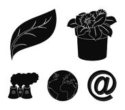 A processing plant, flowers in a pot, a green leaf, a planet Earth.Bio and ecology set collection icons in black style. Vector symbol stock illustration Royalty Free Stock Image