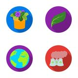 A processing plant, flowers in a pot, a green leaf, a planet Earth.Bio and ecology set collection icons in flat style Stock Image
