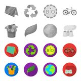 A processing plant, flowers in a pot, a green leaf, a planet Earth.Bio and ecology set collection icons in monochrome. Flat style vector symbol stock Stock Photos
