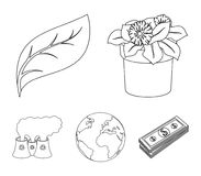 A processing plant, flowers in a pot, a green leaf, a planet Earth.Bio and ecology set collection icons in outline style. Vector symbol stock illustration Royalty Free Stock Photos