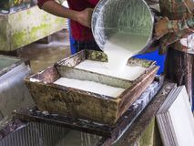 Processing of raw rubber Stock Image