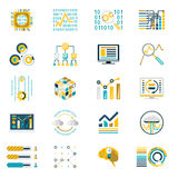 Processing Storage of Large Data Volume Icons. Processing and Storage of large Data Volume Icons Modern Flat Design Icons Template Vector Illustration Stock Image