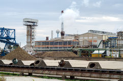 Processing of sugar beet in sugar beet factory in autumn Stock Image