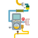 Processing system. working mechanism. Valves and pipes. Sensors Royalty Free Stock Image