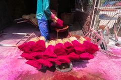 Processing to make incense sticks in traditional village in north of Vietmam stock photography