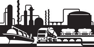 Processing and transportation of oil and gas. Vector illustration Stock Image