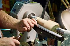 Woodworking on lathe Stock Photography