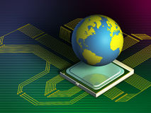 Processing world. Earth globe on a computer processor. Digital illustration Stock Image