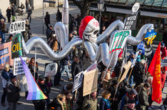 Procession against expansion of presence North Atlantic Alliance. Munich, Germany - February 7, 2015: Antiwar march procession against expansion of presence Stock Images