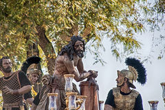 Procession av brödraskapet av cigarren, helig vecka i Seville Arkivbilder