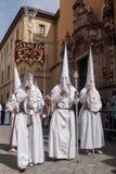 Procession av brödraskapet av den heliga kvällsmålet, helig vecka i Seville Arkivbilder