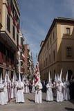 Procession av brödraskapet av den heliga kvällsmålet, helig vecka i Seville Arkivfoto