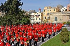 Procession av musiker på påsken i Korfu fotografering för bildbyråer