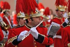 Procession av musiker på påsken i Korfu royaltyfri bild