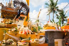 Procession of beautiful Balinese hindu ceremony in Bali island Royalty Free Stock Photos