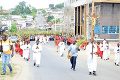 Procession with the branches. A religious procession is a procession of faithful who, in the performance of a ritual and religious act, solemnly parade from one Stock Photo
