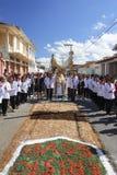 Procession with Catholic faithful in Corpus Christi day stock photography