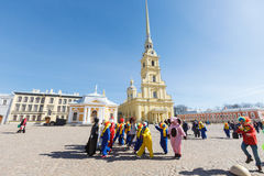 Procession of clowns on Funny festival XVI in Petersburg Stock Photography