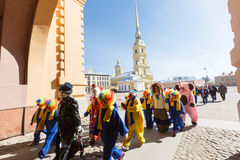 Procession of clowns on Funny festival XVI in Petersburg Royalty Free Stock Photography