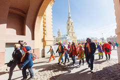 Procession of clowns on Funny festival XVI in Petersburg Royalty Free Stock Photo