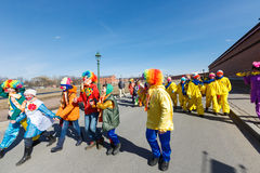 Procession of clowns on Funny festival XVI in Petersburg Royalty Free Stock Images