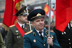 Procession of communists in Moscow Stock Photos