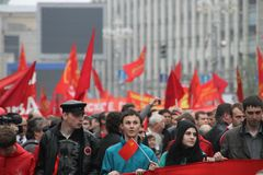 Procession of communists in Moscow Royalty Free Stock Image