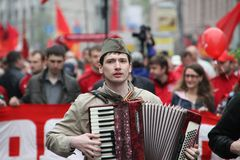 Procession of communists in Moscow Stock Photo