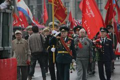 Procession of communists in Moscow Royalty Free Stock Photos