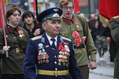 Procession of communists in Moscow Royalty Free Stock Photo