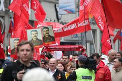 Procession of communists in Moscow Stock Images