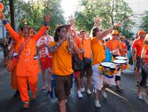 Procession of Dutch fans Royalty Free Stock Photo