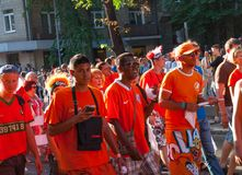 Procession of Dutch fans Royalty Free Stock Photography