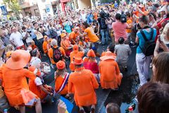 Procession of Dutch fans Stock Images