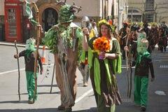 Procession 2013 för grön man Arkivfoto