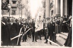 Procession för helig vecka. 1927 Arkivfoton