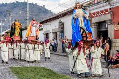 Procession on first Sunday of Lent, Antigua, Guatemala. Antigua, Guatemala -  February 18, 2018: Procession on first Sunday of Lent in town with most famous Holy Stock Photos