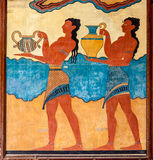 Procession fresco. Procession fresco of Minoan Palace. Crete, Greece Royalty Free Stock Images