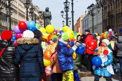 Procession of Funny festival XVI in Petersburg near Nikolaj Gogol monument Stock Images