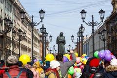 Procession of Funny festival XVI in Petersburg near Nikolaj Gogol monument Royalty Free Stock Photo